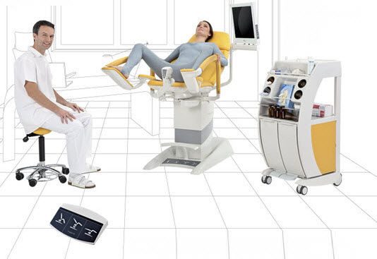 Height-adjustable gynecological examination chair (electric, 3 sections)
